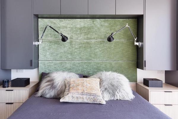 Custom size upholstered headboard in green velvet