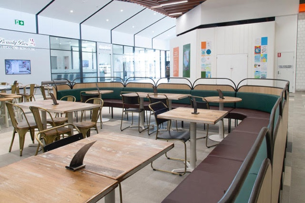 The unusual 'no wall' design meant that seating was installed on a custom metal frame.