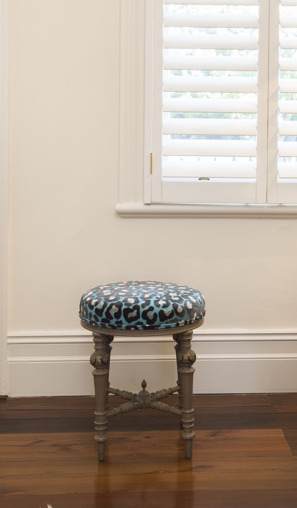 After - Vintage footstool in a vibrant spotted print